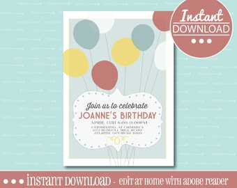 Balloon Birthday Party Invitation -  EDITABLE - INSTANT DOWNLOAD - Editable File - Personalize - Edit Yourself with Adobe Reader-Printable