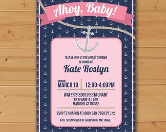Ahoy Baby Shower Invitation, Nautical Baby Shower Invitation, Ahoy Baby, Nautical baby shower, Anchor Baby Shower Invitation