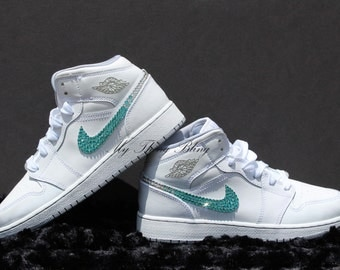 Woman's Nike Air Jordan 1 MID BG W/Swarovski Crystals - White/Cool Grey