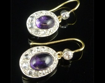 Victorian Amethyst & 1ct Rose Cut Diamond 18ct Gold Earrings Circa 1900