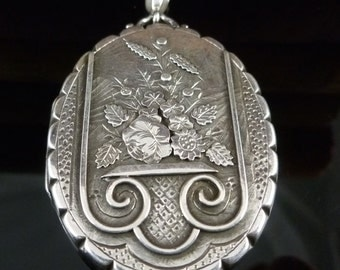 Antique Victorian Large Silver Locket - Dated 1882