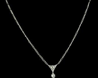 Antique Art Deco Opal & Diamond Pendant - Platinum 1920's