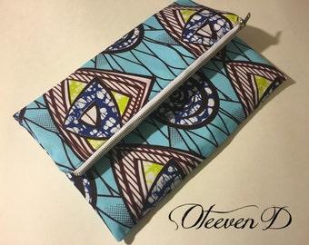 Light Blue, African Print, large fold over clutch, veritable wax cotton,purse