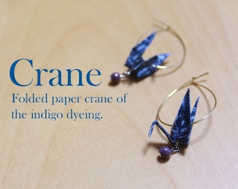 Indigo dyeing of folded crane Pierced earrings