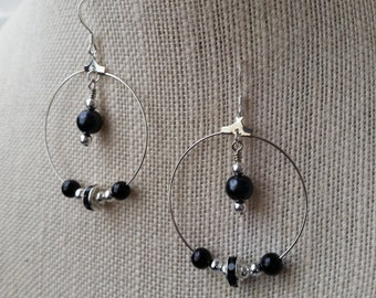 Black and Silver Hoop Dangle Earrings