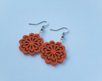 Orange Painted Wood Flower Dangles . Earrings.