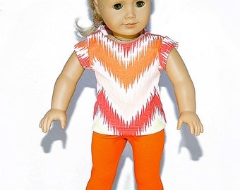 American made Girl Doll Clothes, 18 inch Girl Doll Clothing, Chevron Top, Knit Capris made to fit like American girl doll clothes
