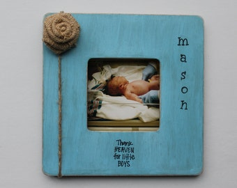 Personalized Baby Frame, New Baby Boy Frame, Thank Heaven For Little Boys Picture Frame, Blue Photo Frame