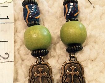 African Glass Earrings