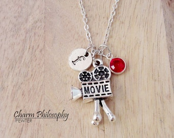 Movie Camera Necklace - Antique Silver Video Camera Charm - Monogram Personalized Initial and Birthstone