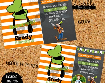 Goofy Birthday Invitation/ Goofy with Picture Birthday Invitation Includes FREE Thank you card