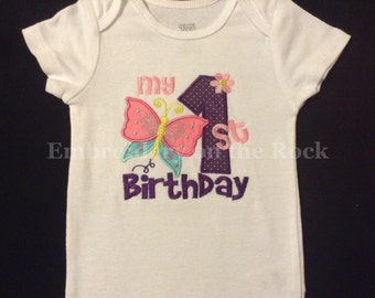 Butterfly 1st Birthday, butterfly birthday shirt, My 1st Birthday shirt, girl 1st birthday, bodysuit, butterfly birthday bodysuit