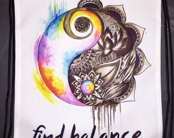Find Balance Shoulder Bag, Gym Bag, School Bag, Positive Saying, Drawstring Bag, Gymsack, Gym Sack