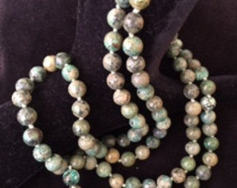 8 mm picture jasper bead necklace