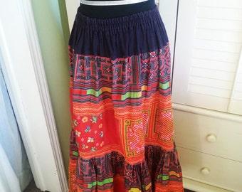 1970's hippie skirt, 1970's skirt, hippie skirt, bohemian skirt, Woodstock hippie skirt.