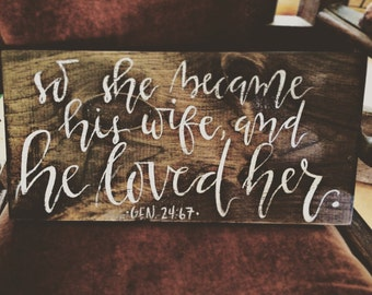 So She Became His Wife and He Loved Her Rustic Wood Sign Home Decor Christian Bible Verse Religious Art Painting Wedding Gift