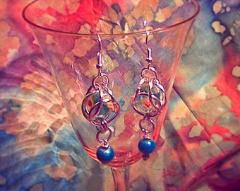 Earrings, pierced, wires, bead in a cage