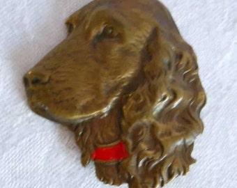 Vintage 1930s/1940s brass spaniel dog brooch