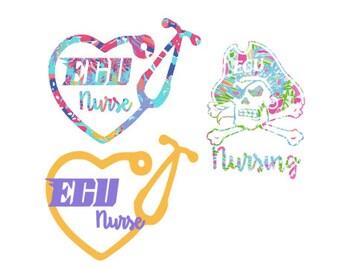 Lilly Pulitzer insp. ECU nursing student sticker/decal