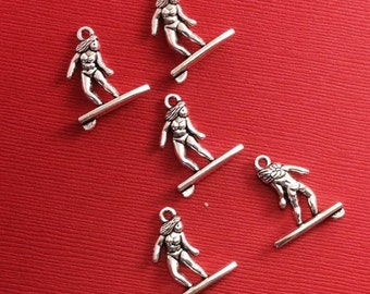 Surfer Charm. 10 pcs Antique Silver Surfer Charm 21x18mm. Surfing Pendant. Sports Jewelry. Sports Charm. Surfing Charm. - (10 - 0029F)