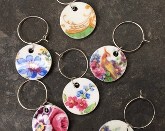 Set of 6 upcycled china wine glass charms