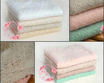 RTS soft knitted textured lace baby posing fabric,beanbag blanket,fabric backdrop,beige,pink,white,mint,neutral pastel colours