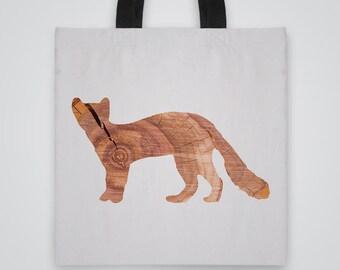 Wood Marten Silhouette Tote Bag - Art Tote - Market Bag - Shoulder Bag - Canvas Bag