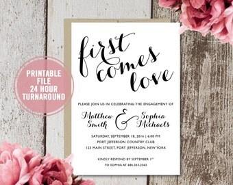 Engagement Party Invitation, Engagement Invitation Printable, Classic Engagement Invitation, Script Engagement Announcement, Download