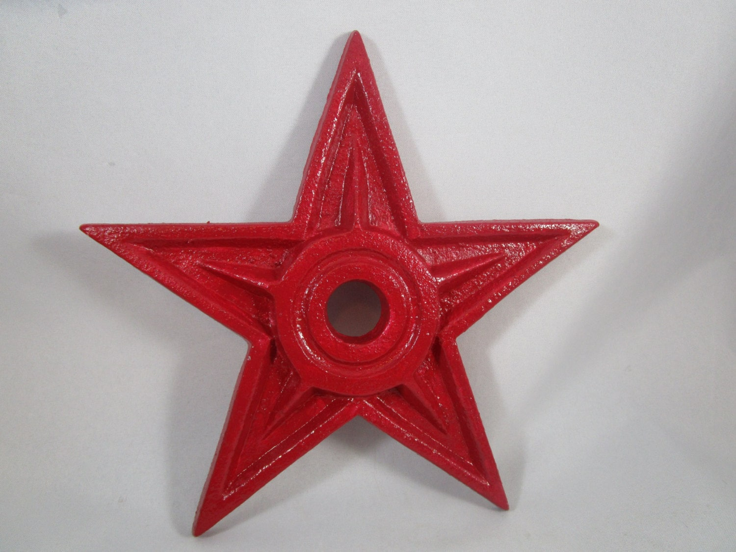 Star cast iron decor barn red metal star cast iron for Barn star decorations home