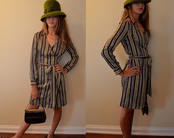 Vintage dress, Vintage wrap dress, Vintage striped dress, Causal dress, Diane Von Furstenberg, Wrap dress, DVF dress, Dress