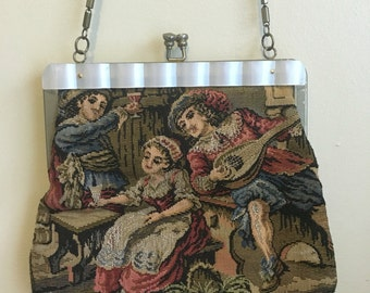 Vintage Tapestry Fabric Purse - 1970s Purse, Shell Detail, Long Strap, Chain Strap, Hippie Bag