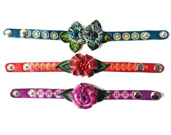 Genuine Leather Bracelet, Flowers Leather Wrap Bracelet - HFF151515