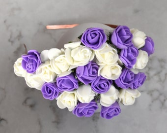 Purple & White Rose Flower Headpiece / Fascinator - Copper Headband
