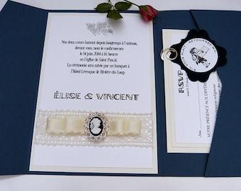 ABIGAIL/Classic Wedding Invitation/Ribbon and Camay Embellishment