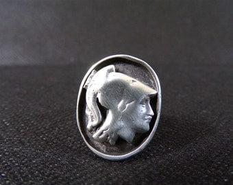 Old Minerva in Sterling Silver hallmarked ring / old jewelry / silver jewelry / french jewelry / vintage france / head of Minerva.