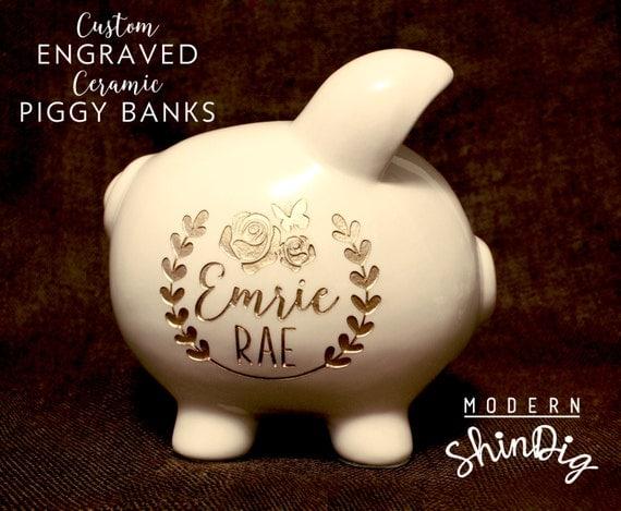 Piggy bank with free custom engraved design large ceramic - Engraved silver piggy bank ...