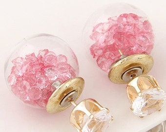 Round Stud Light Pink Crystal Earrings