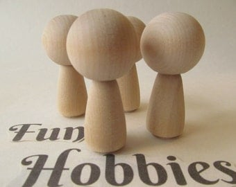 Kokeshi dolls -  Peg dolls - Unfinished Unpainted DIY wooden dolls - Ready to paint - Set of 4 - Peg dolls with Long Bodies
