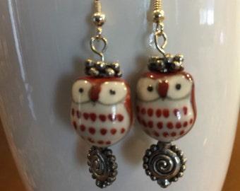 Burgundy glass owl earrings