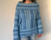 Hand-knitted hand-made soft and fuzzy MOHAIR SWEATER, ladies S-L
