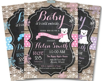Baby its cold outside Baby Shower Invitation. Winter Baby Shower Invitation. Polar Bear. Rustic Chalkboard. Boy or Girl. Printable Digital.