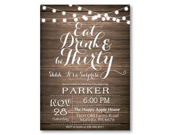 Surprise 30th Birthday Invitation. Rustic 40th 50th 60th 70th 80th 90th Any Age. String Lights Wood. Surprise Birthday. Printable Digital.