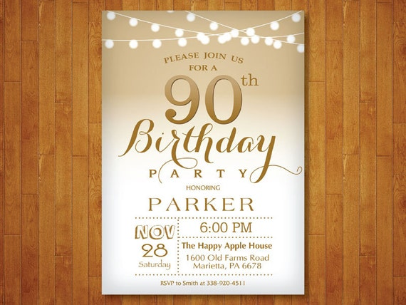 90th birthday invitation  gold and white  string lights  70th