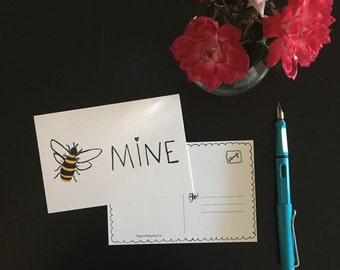 Bee Mine, Valentine Watercolor, postcard, pack of 3 (one design)