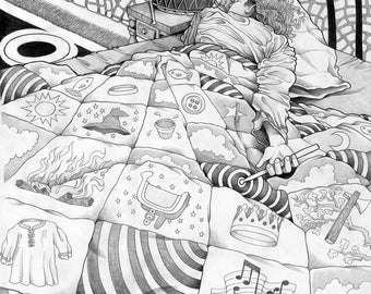 "Custom Pencil Drawing, 9x12"", Drummer/Quilt/Dream/Grimm/Fairy-Tale/Art Print"