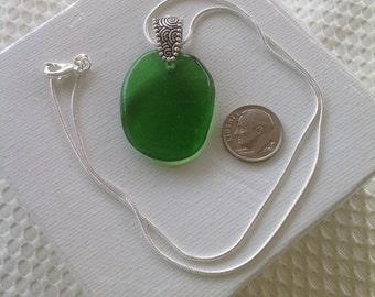 Large Green Seaglass Pendant