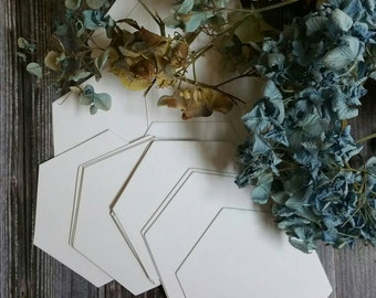 90 - 2 inch sides hexagon EPP English paper pieces\ piecing hand quilting 110 weight card stock hexies Bee Cottage Series Ivy and Wisteria