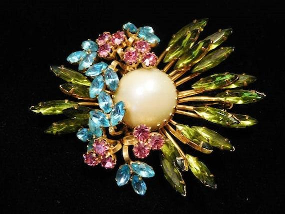 Mid Century Rhinestone Brooch Swarovski AUSTRIA Hollywood Wedding Brooch Austria Multi Color Glass Rhinestones Faux Pearl Austrian Crystals