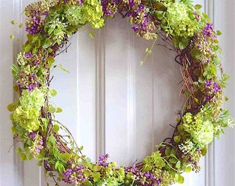 "Nordic Wild Purple Lilac and Delicate Greens Wreath. Permanent Botanical Life-Like Flowers. 21"" Dia."