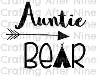 Auntie Bear, Aunt Bear, Bear Family, Personal & Commercial Use, Silhouette Cameo, Cricut Cut File, Svg Cutting File, Png Image